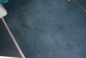 Carpet dyeing on blue carpet
